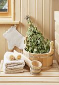 picture of sauna  - Detail of sauna interior with traditional sauna accessories - JPG