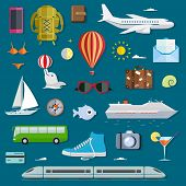 Icons of traveling, planning vacation, tourism and journey objects. Travel infographics with data icons and elements.