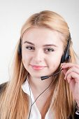 Beautiful Blond Business Woman With Headset