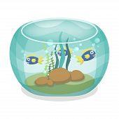 Cartoon aquarium with fishes