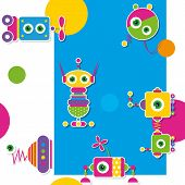 colorful robots collection pattern / greeting card