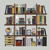 Wooden bookshelf with various objects
