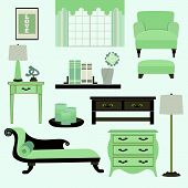 Living room furniture and accessories in color teal