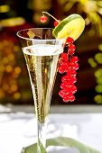Champagne glass with champagne and red currant decoration