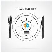 Creative Light Bulb Idea And Brain Sign