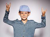 Dancing boy. Fashion model child
