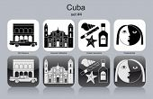 Landmarks of Cuba. Set of monochrome icons. Editable vector illustration.