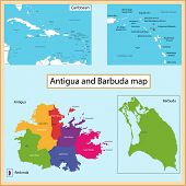 Map of Antigua and Barbuda drawn with high detail and accuracy. Antigua and Barbuda is divided into provinces which are colored with different bright colors. Barbuda map