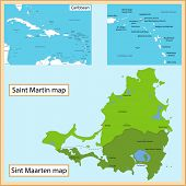 Map of Saint Martin and Sint Maarten drawn with high detail and accuracy