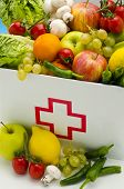 Healthy Food. First Aid Box Filled With Fresh Fruits And Vegetables.