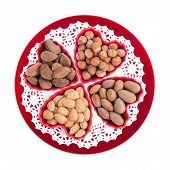 Group Of Nuts In Heart Shape Bowls