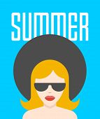 Summer Retro Poster Girl The Beach Vintage Vector Background