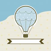 sweet hot air balloon on a colored background