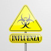 detailed illustration of a yellow influenza biohazard warning sign, eps10 vector