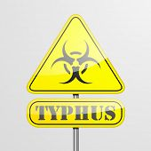 detailed illustration of a yellow typhus biohazard warning sign, eps10 vector