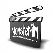 detailed illustration of a clapper board with Monsterfilm term, symbol for film and video genre, eps