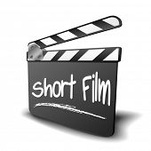 detailed illustration of a clapper board with Short Film term, symbol for film and video genre, eps1