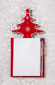 Christmas Wishlist: White And Red Writing Pad With A Tree.