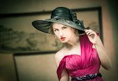 pic of vaudeville  - Charming blonde woman with black hat - JPG