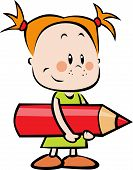 Illustration Of Child With Pencil - Little Girl Hold Red Crayon
