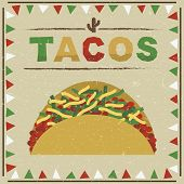 picture of tacos  - mexican styled frame with taco decoration with transparencies - JPG