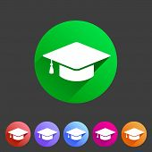 Flat graduation cap icon