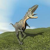 Aucasaurus dinoasaur roaring - 3D render