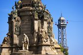stock photo of christopher columbus  - Cable car from Montjuic in Barcelona Spain with iron tower in the foreground  - JPG
