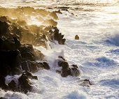 Rough Coast With Huige Waves