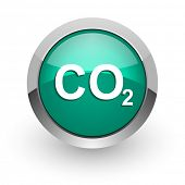 carbon dioxide green glossy web icon