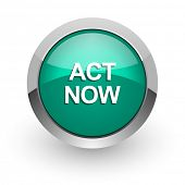 act now green glossy web icon