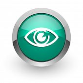 eye green glossy web icon