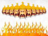 Illustration of angry Ravana with his ten heads wearing golden crown with fire on a whit and grey wi
