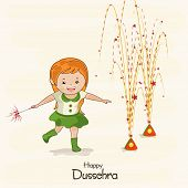 Illustration of a small girl wearing green dress with brown hair  playing with colourful crackers na