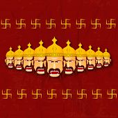 Illustration of angry Ravana with his ten heads and wearing golden crown with the sign of Swasthik in Red retro background.
