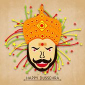 image of ravana  - Face of proudy Ravana with colourful crackers on wintage background - JPG