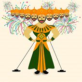 Illustration of Ravana with his ten heads in traditional dress on colorful fireworks decorated background for Dussehra festival celebrations.