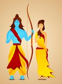 stock photo of sita  - Blue Illustration of Lord Ram holding his bow and Goddess Sita with giving Blessing in red and yellow clothes - JPG