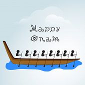 Silhouette of South Indian people participating in snake boat racing on creative clouds background f