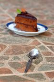 A Delicious Chocolate Sponge Cake On The Dish Delicious.