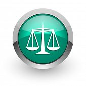 justice green glossy web icon