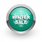 winter sale green glossy web icon