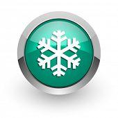 snow green glossy web icon