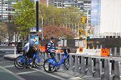 Unidentified bike rider renting Citi bike in Manhattan