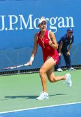 Professional tennis player Elena Vesnina during first round match at US Open 2013