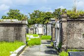 stock photo of burial-vault  - Lafayette cemetery in New Orleans with historic Grave Stones - JPG