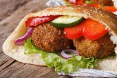 Falafel With Fresh Vegetables In Pita Bread Close-up