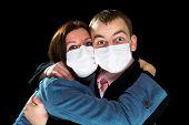 Afraid Man And Woman Dressings Mask