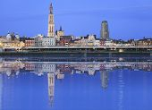 Antwerpen Skyline Reflecting In River