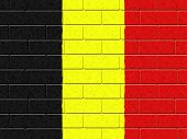 Belgian Flag Indicates Blank Space And Cement
